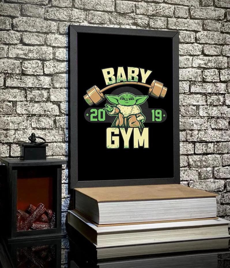 Quadro Com Moldura Baby Yoda GYM Fitness: Star Wars - 46x33 - EV
