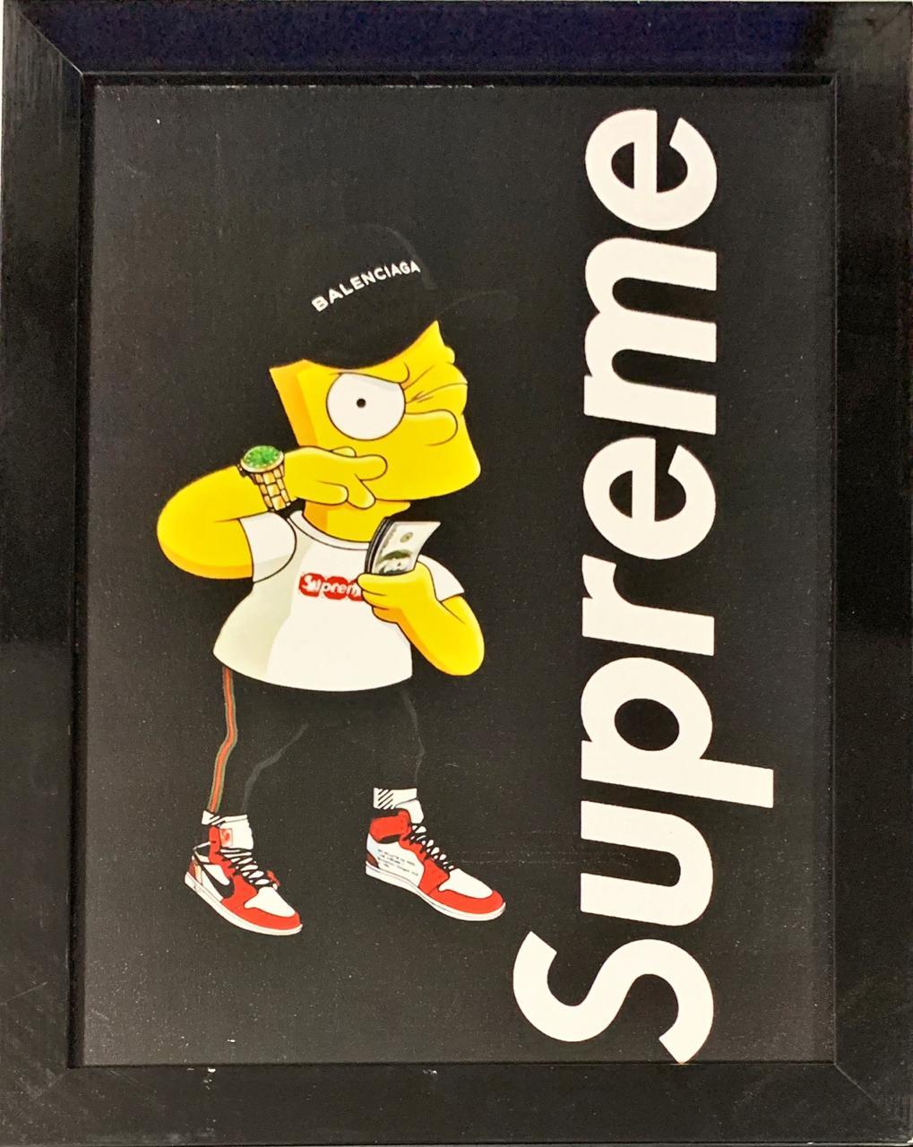 Quadro com Moldura Bart Simpson (Supreme): Os Simpsons