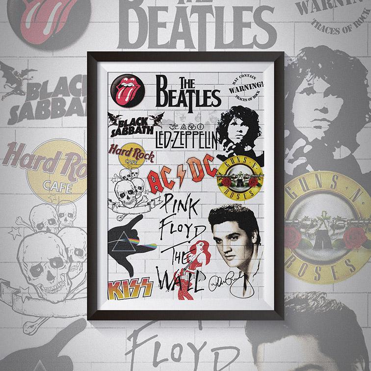 Quadro Com Moldura Best Of Rock n Roll Logo Bands Classic - 46x33 - EV