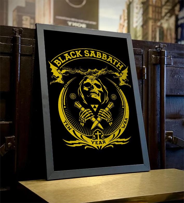 Quadro Com Moldura Black Sabbath Ten Year War Heavy Metal - 46x33 - EV