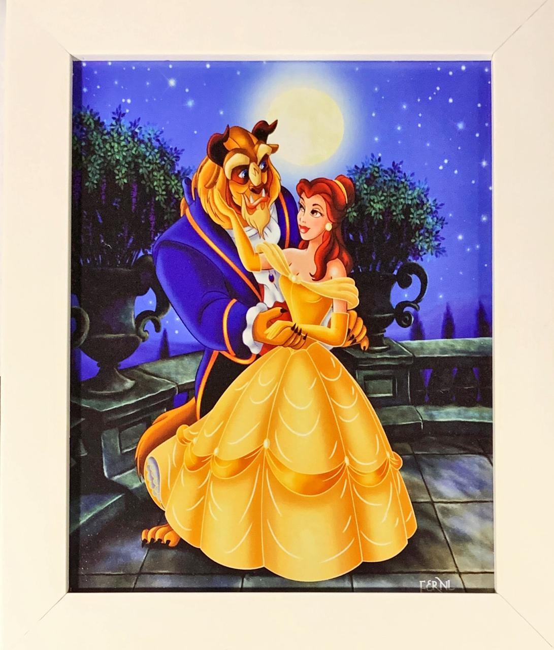 Quadro com Moldura Branca A Bela e a Fera: Disney - 24x29