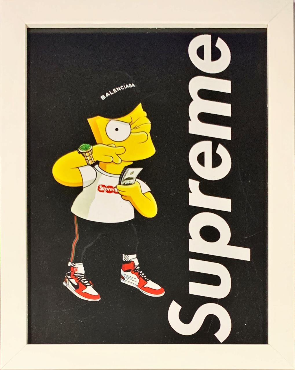 Quadro com Moldura Branca Bart Simpson (Supreme): Os Simpsons