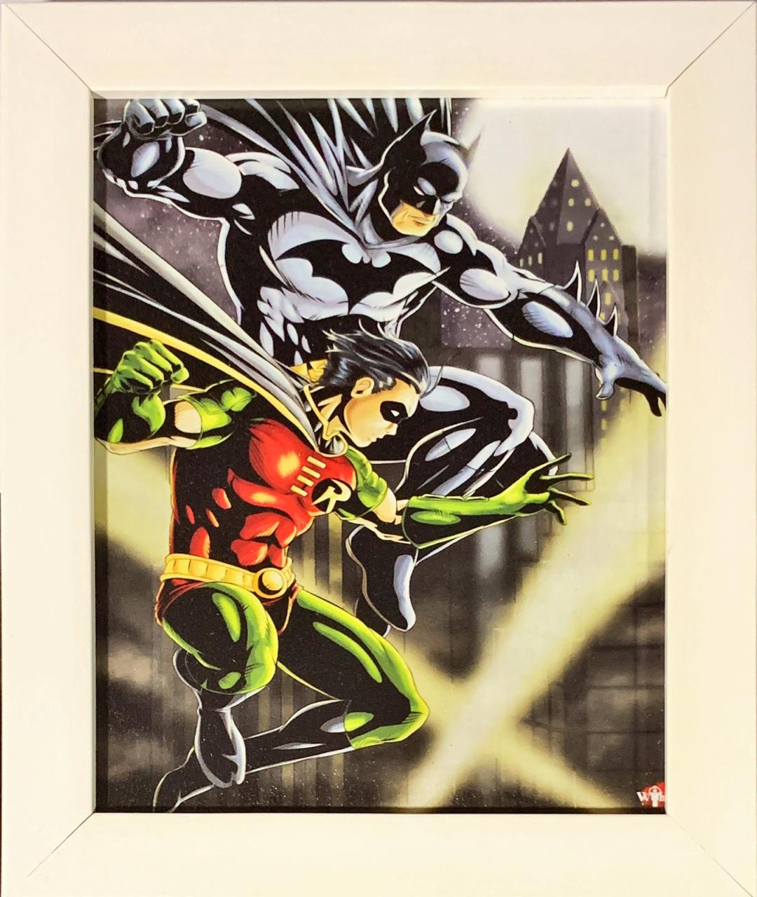Quadro com Moldura Branca Batman e Robin: DC Comics - 24x29