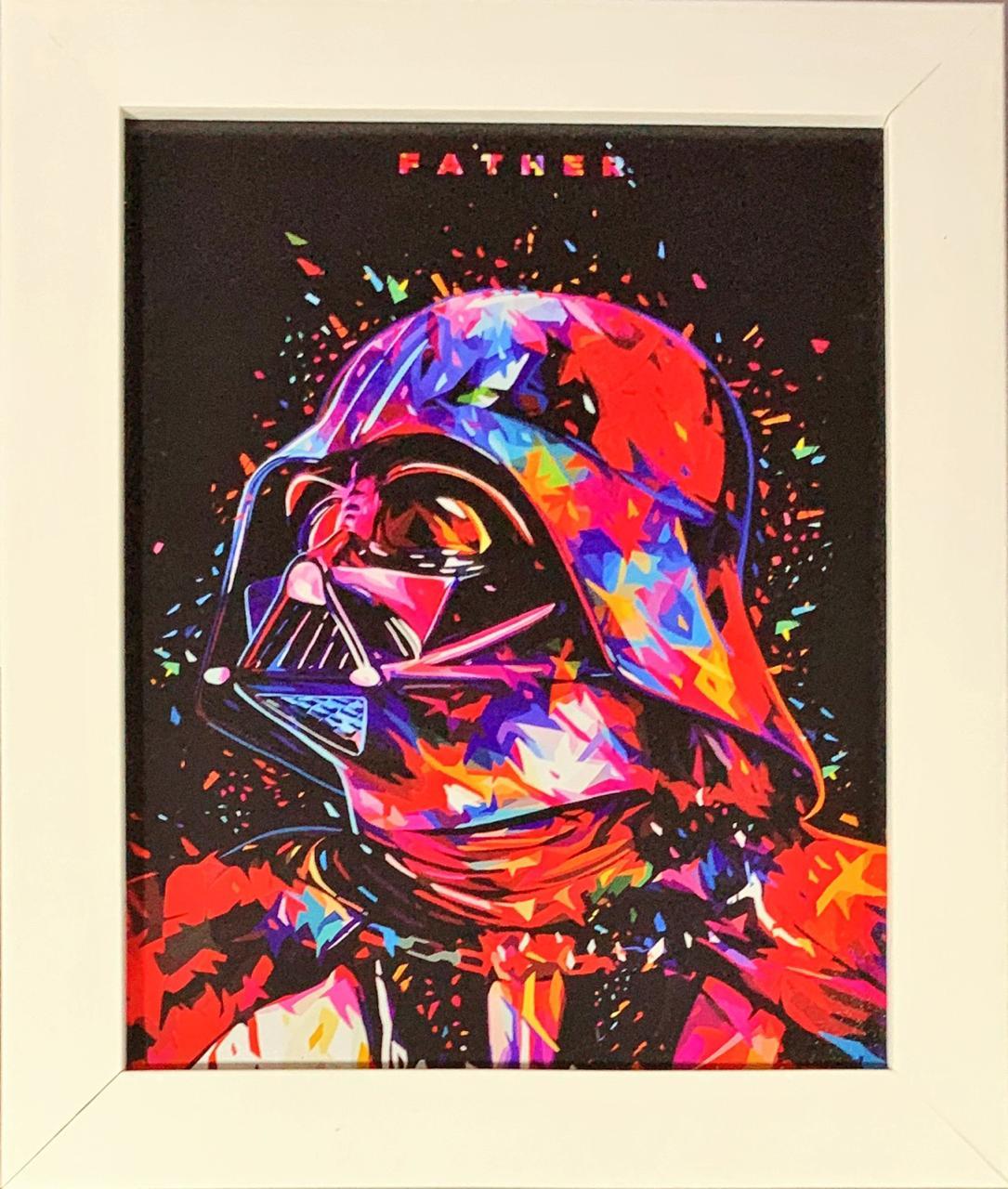 Quadro com Moldura Branca Darth Vader Colors: Star Wars - 24x29
