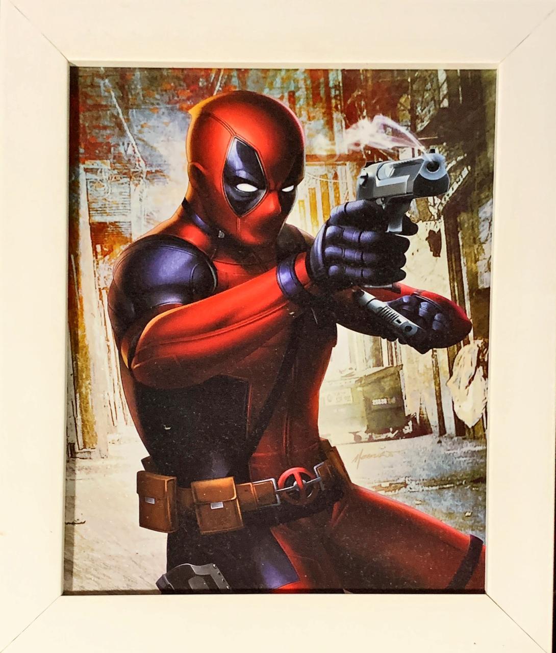 Quadro com Moldura Branca Deadpool: Marvel - (24x29)
