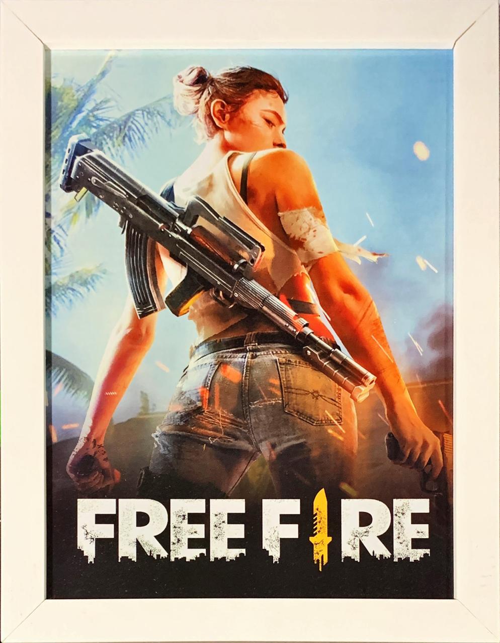 Quadro com Moldura Branca Garena: Free Fire