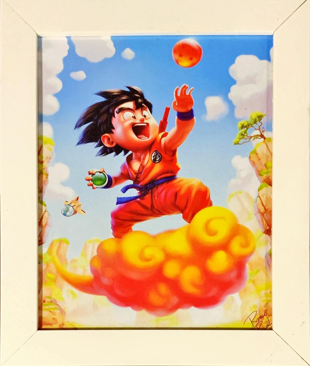 Quadro com Moldura Branca Goku na Nimbus Cloud: Dragon Ball Z - 24x29