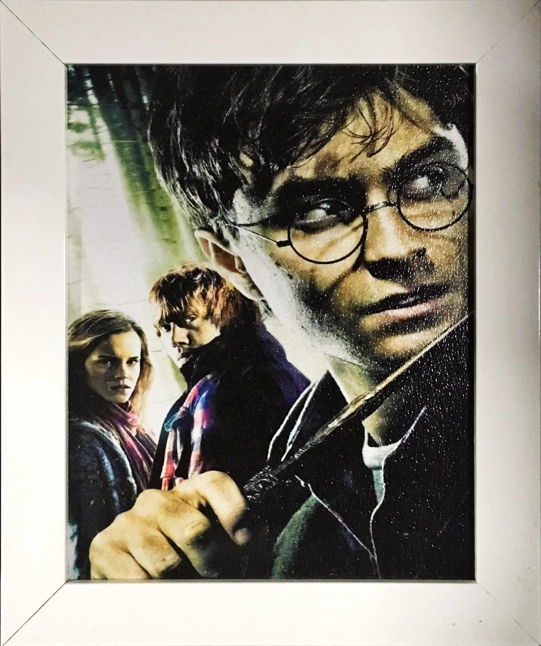 Quadro com Moldura Branca Harry, Rony e Hermione: Harry Potter - 24x29