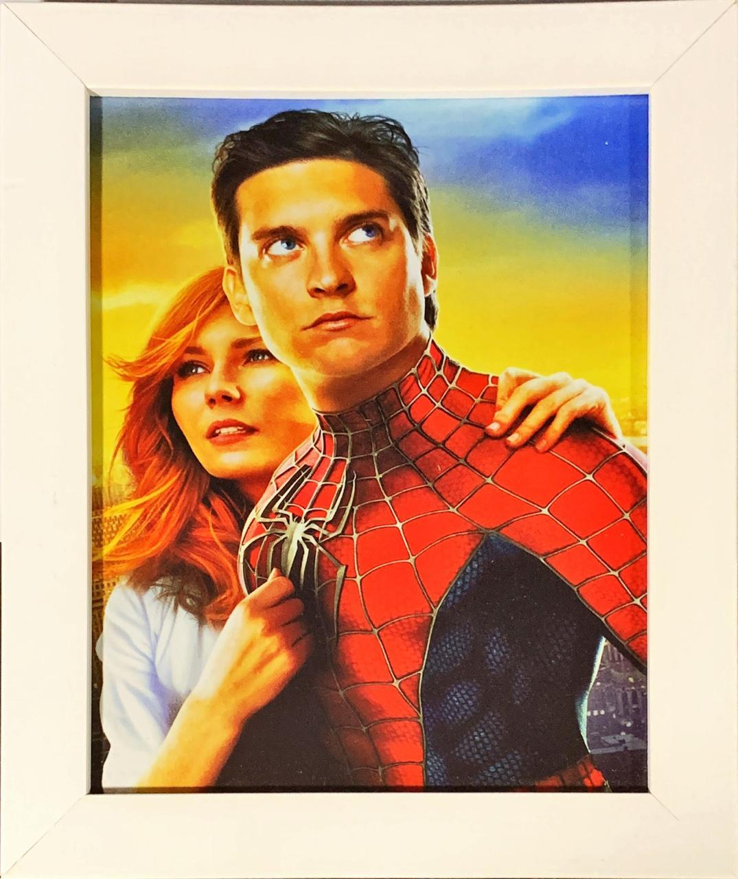 Quadro com Moldura Branca Homem-Aranha e Mary Jane: Homem-Aranha 2 - (24x29)