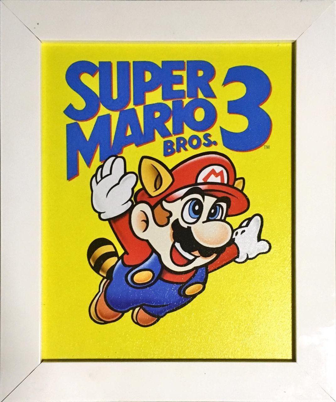Quadro com Moldura Branca Mario: Super Mario Bros 3 - 24x29
