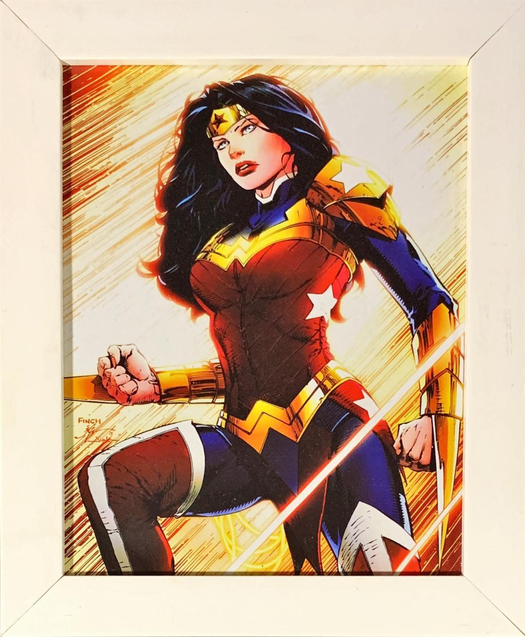 Quadro com Moldura Branca Mulher-Maravilha: DC Comics (24x29)