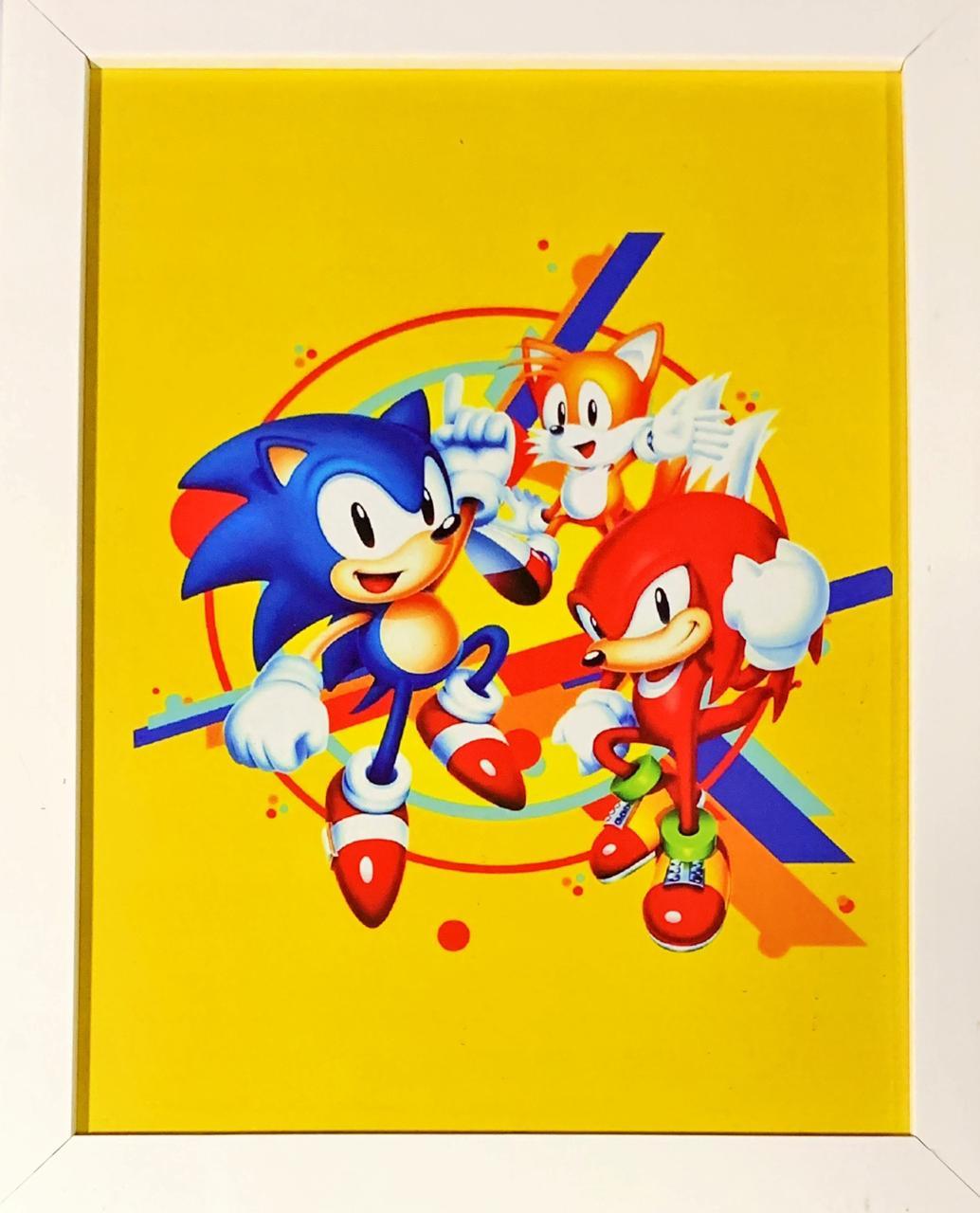 Quadro com Moldura Branca Sonic Mania