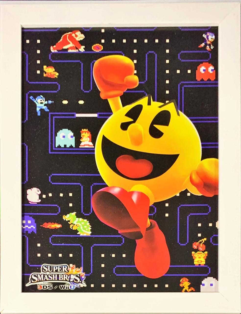 Quadro com Moldura Branca Super Smash Bros: Nintendo