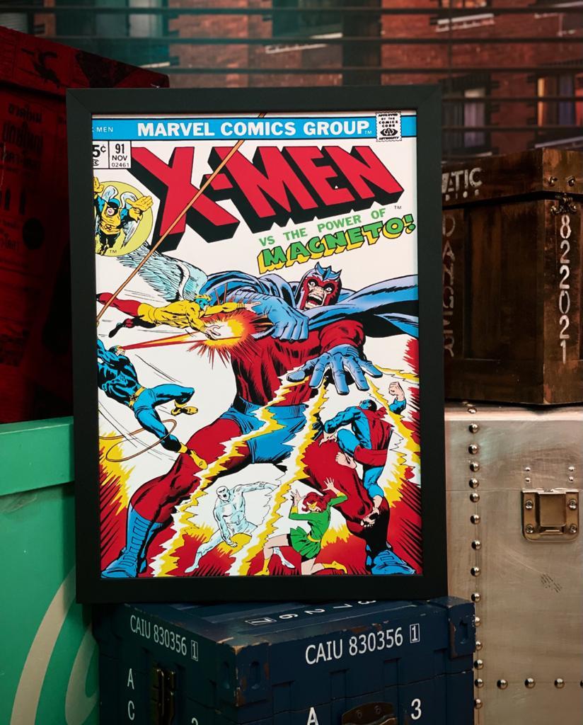 Quadro Com Moldura: Capa Quadrinho Capa Quadrinho X-Men Vs The Power Of Magneto Nº 91 - Marvel Comics 46X33cm - EV