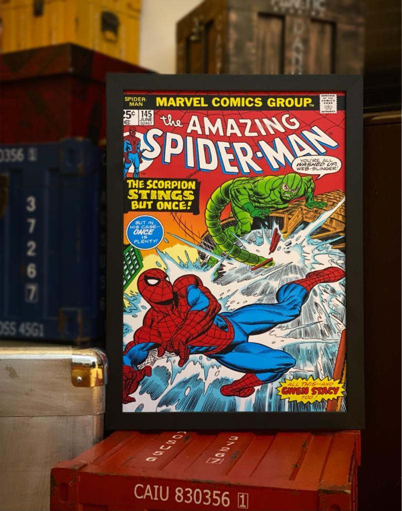 Quadro Com Moldura: Capa Quadrinho Spider - Man Nº 145 - Marvel Comics 46X33cm - EV