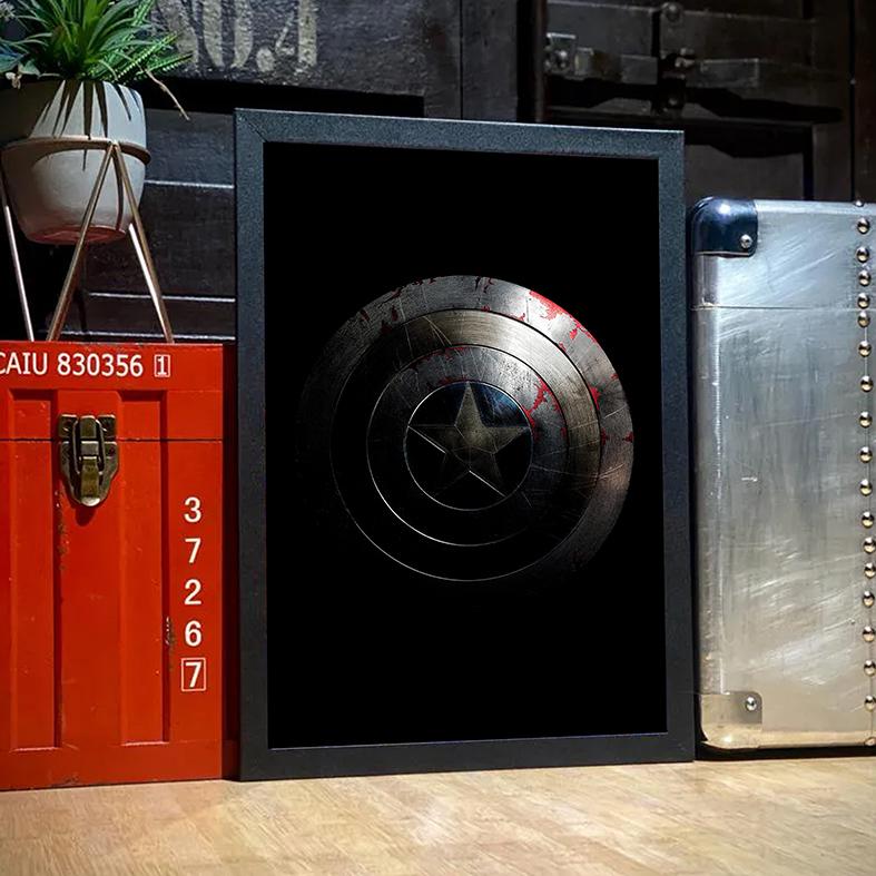 Quadro Com Moldura Captain America Shield Capitão América Escudo Marvel - 33x46 - EV