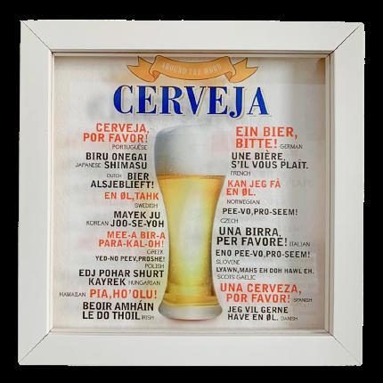 """Quadro com Moldura """"Cerveja Por Favor!""""  (23x23cm)"""