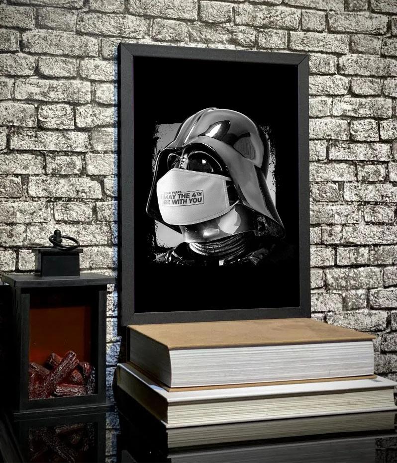 Quadro Com Moldura Darth Vader Covid 19 May The 4Th Be With You: Star Wars - 46x33 - EV