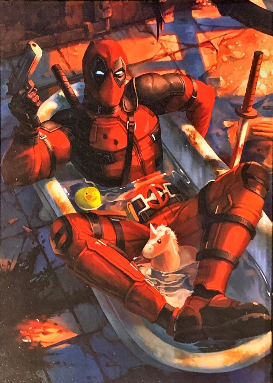 Quadro com Moldura Branca Deadpool (Banheira): Marvel Comics