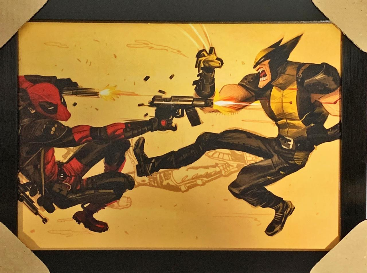 Quadro com Moldura Deadpool vs Wolverine