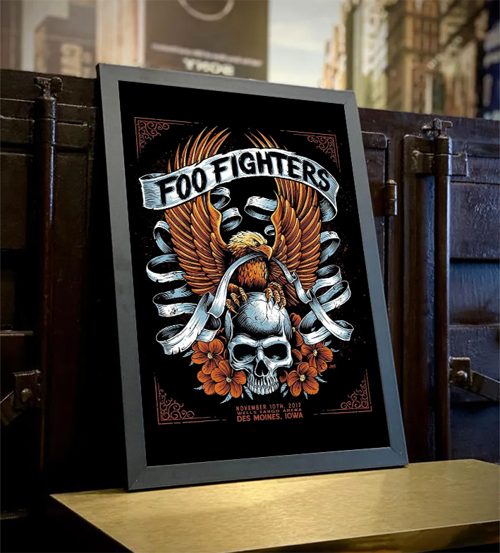 Quadro Com Moldura Des Moines Iowa Wells Fargo Arena: Foo Fighters - 46x33 - EV