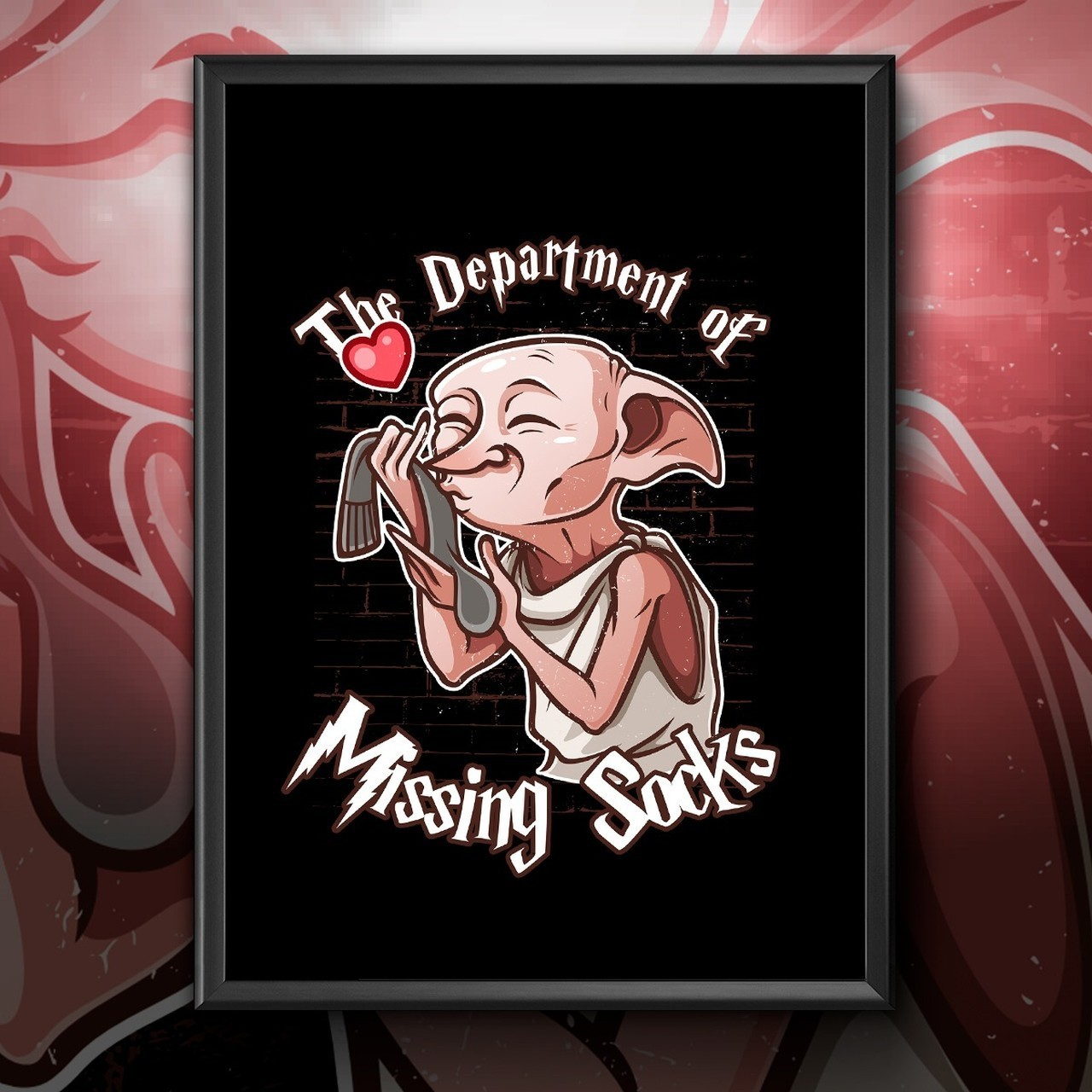 "Quadro Com Moldura: Dobby ""The Department Of Missing Socks"" - 46x33"