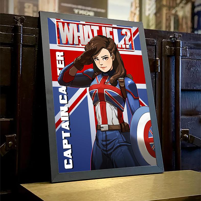 Quadro com Moldura E Se...? Capitã Margaret Carter Britain What If...? Captain Carter Marvel Comics Disney+ - 46x33 - EV