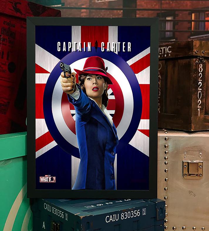 Quadro com Moldura E Se...? Capitã Margaret Carter Poster Britain What If...? Captain Carter Marvel Comics Disney+ - 46x33 - EV