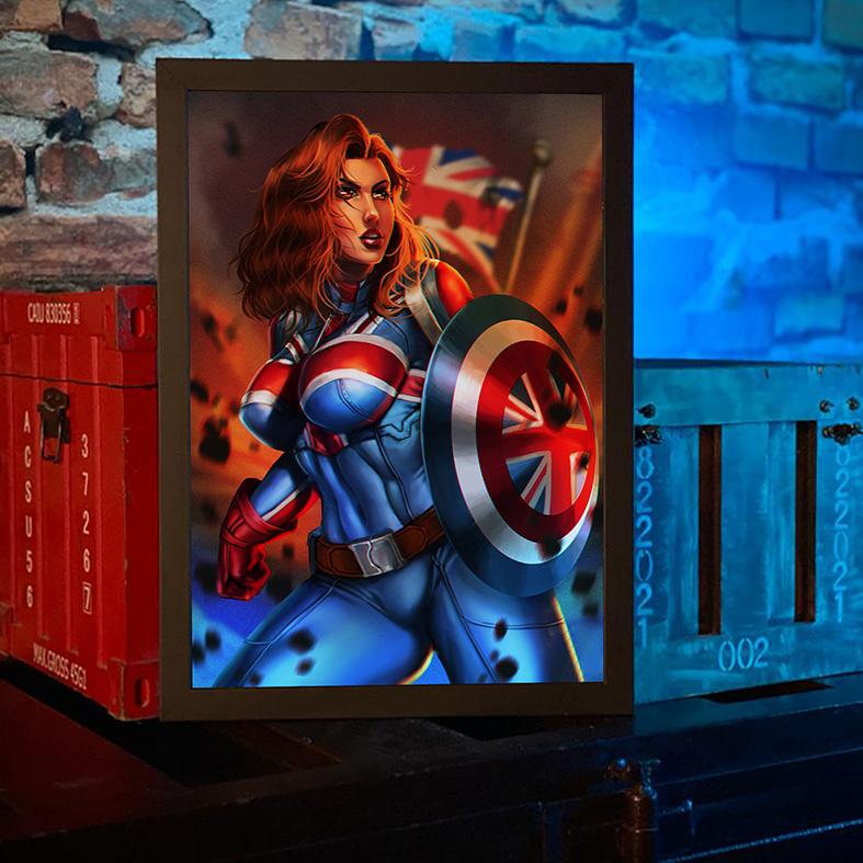 Quadro com Moldura E Se...? Capitã Margaret Carter Sexy Britain What If...? Captain Carter Marvel Comics Disney+ - 46x33 - EV