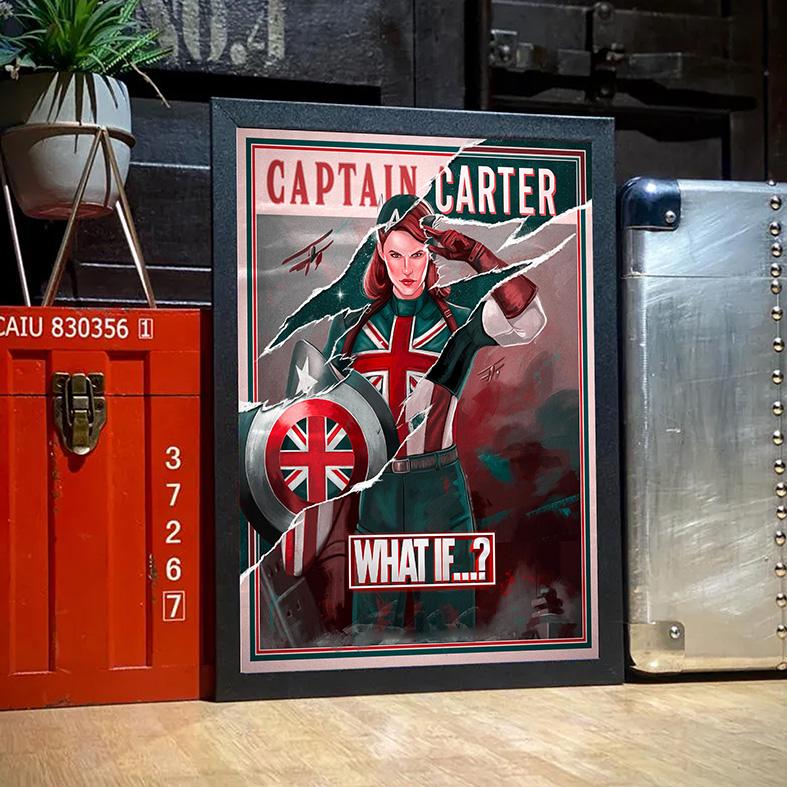 Quadro com Moldura E Se...? Capitã Margaret Carter What If...? Captain Carter Marvel Disney+ - 46x33 - EV