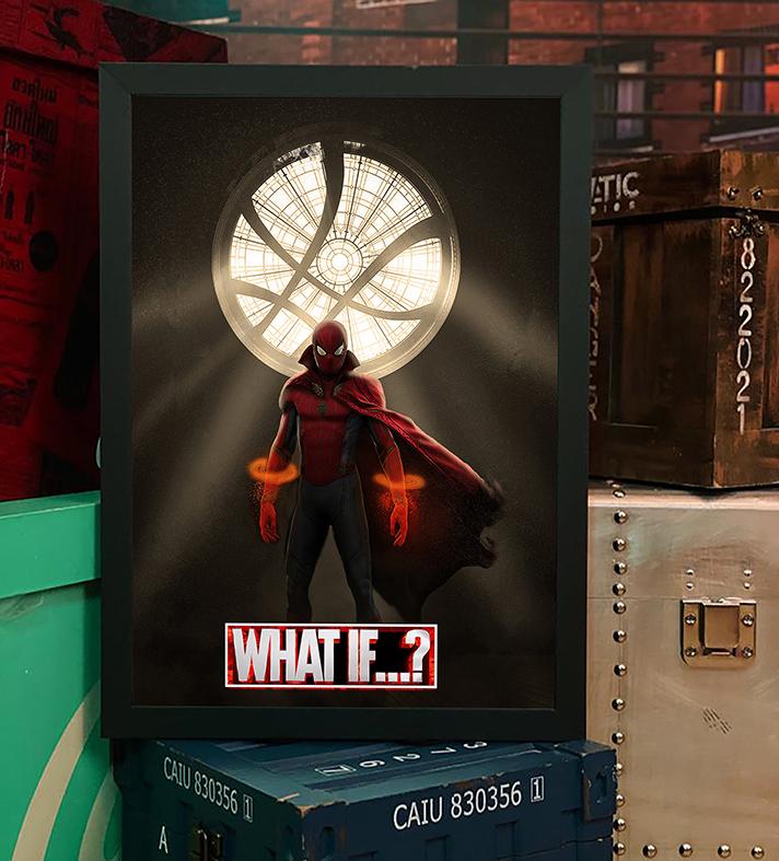 Quadro com Moldura E Se...? Homem Aranha Doutor Estranho Spider Man Doctor Strange What If...? Marvel Studios Disney+ - 46x33 - EV