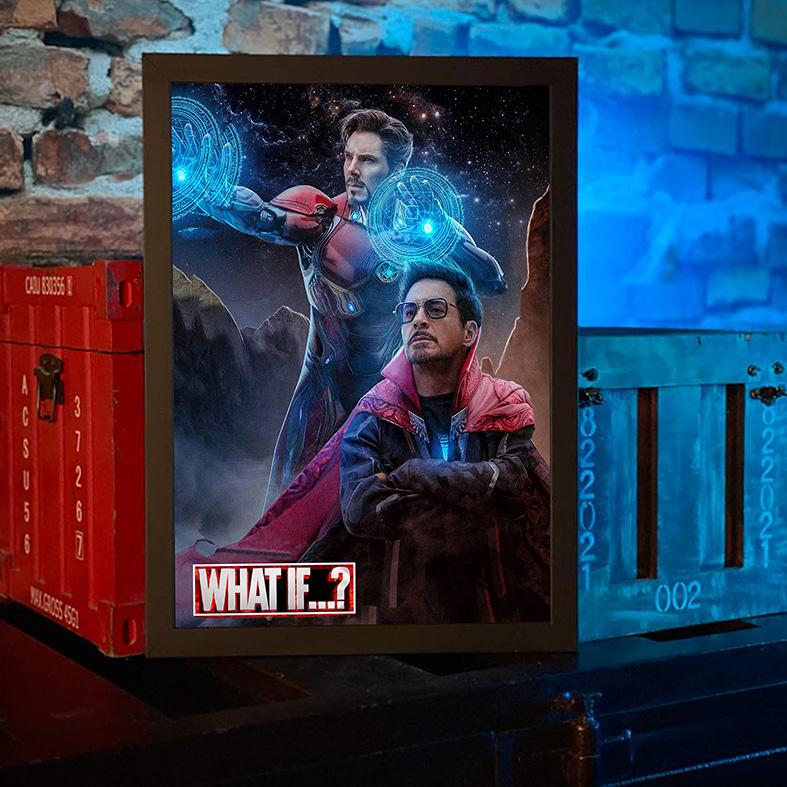 Quadro com Moldura E Se...? Homem De Ferro Doutor Estranho Iron Man Doctor Strange What If...? Marvel Studios Disney+ - 46x33 - EV