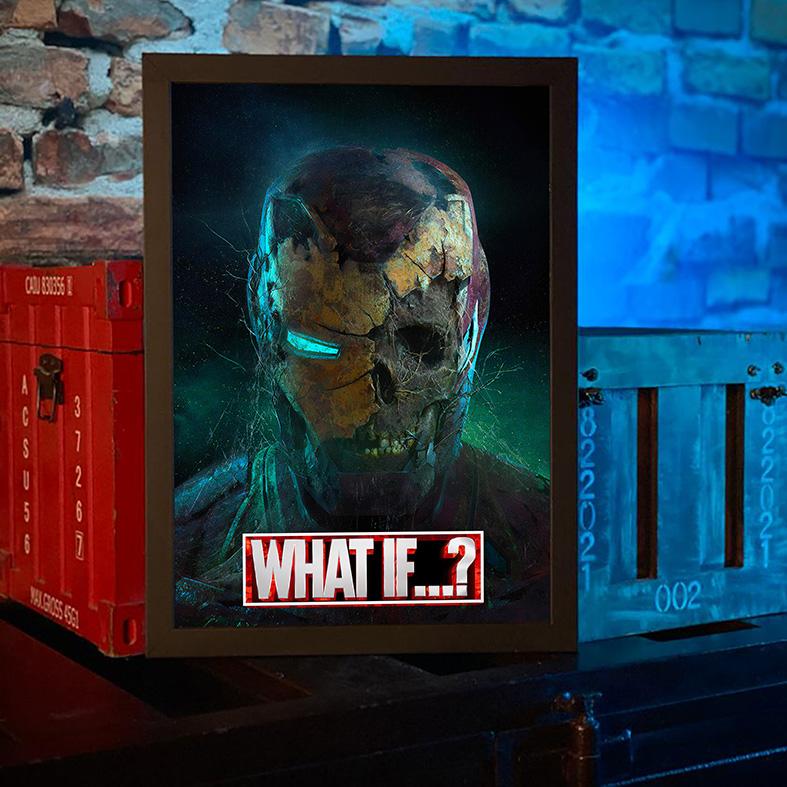 Quadro com Moldura E Se...? Homem De Ferro Zumbi Iron Man What If...? Marvel Studios Disney+ - 46x33 - EV