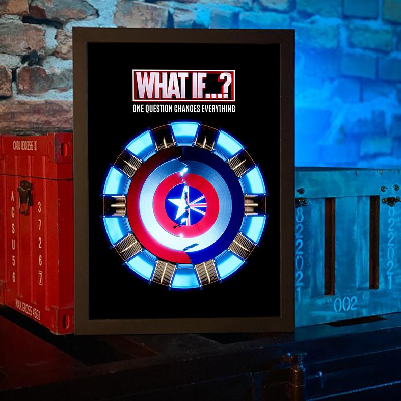 Quadro com Moldura E Se...? What If...? Uma Pergunta Muda Tudo Escudo One Question Changes Everything Marvel Studios Disney+ - 46x33 - EV