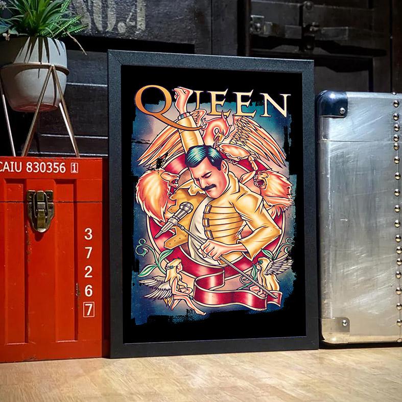 Quadro Com Moldura Freddie Mercury Queen Rock Legends Poster - 33x46 - EV