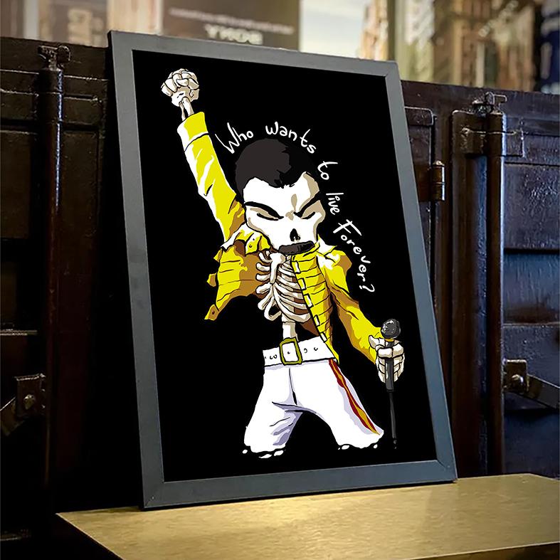 Quadro Com Moldura Freddie Mercury Quem Quer Viver Para Sempre Caveira Rock Skull: Queen - 33x46 - EV