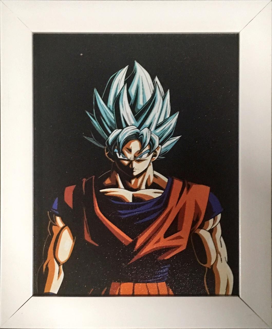 Quadro com Moldura: Goku Blue Super Saiyan: Dragon Ball Super - (24x29)