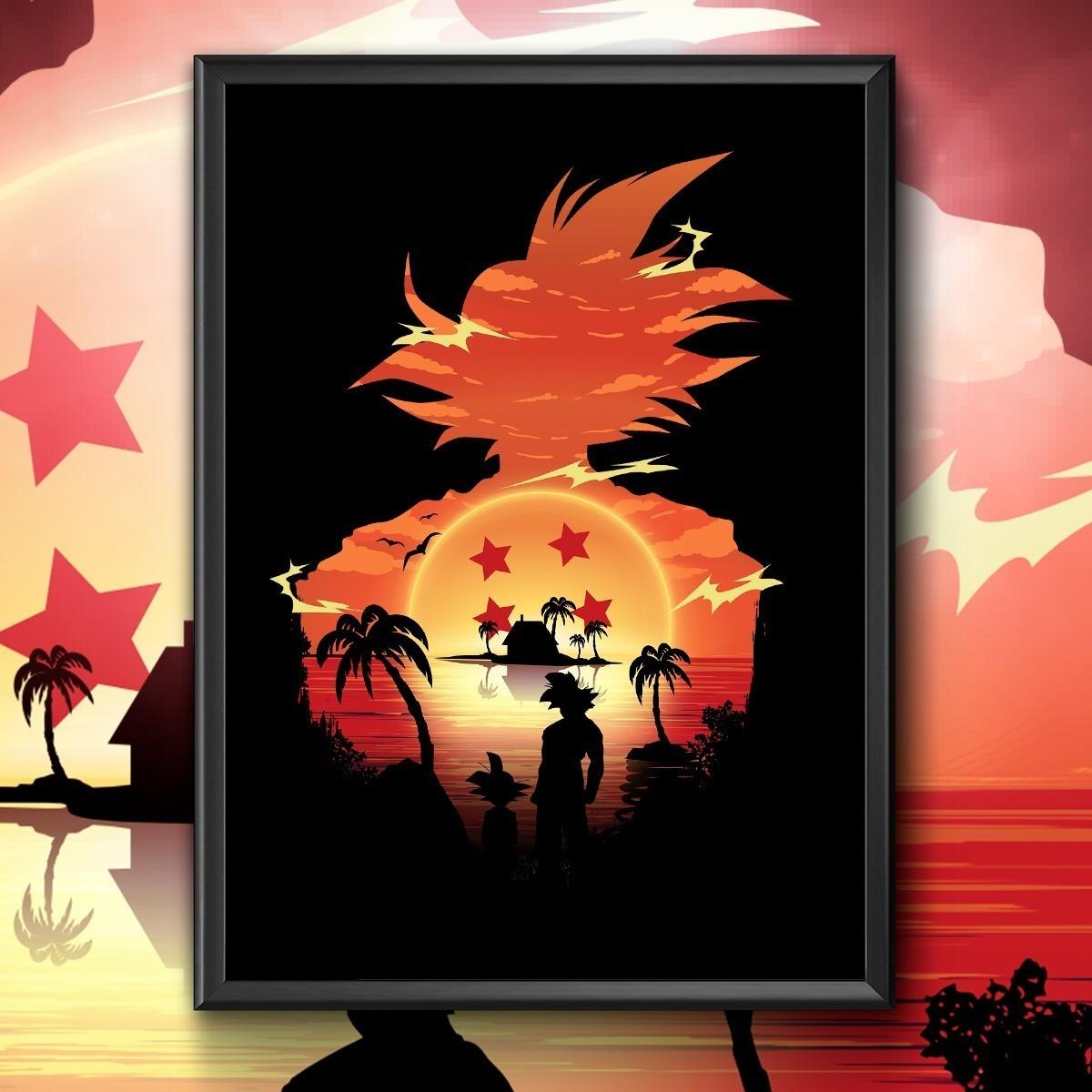 Quadro Com Moldura Goku: ''Kame House'' Dragon Ball Z - 46x33 - EV