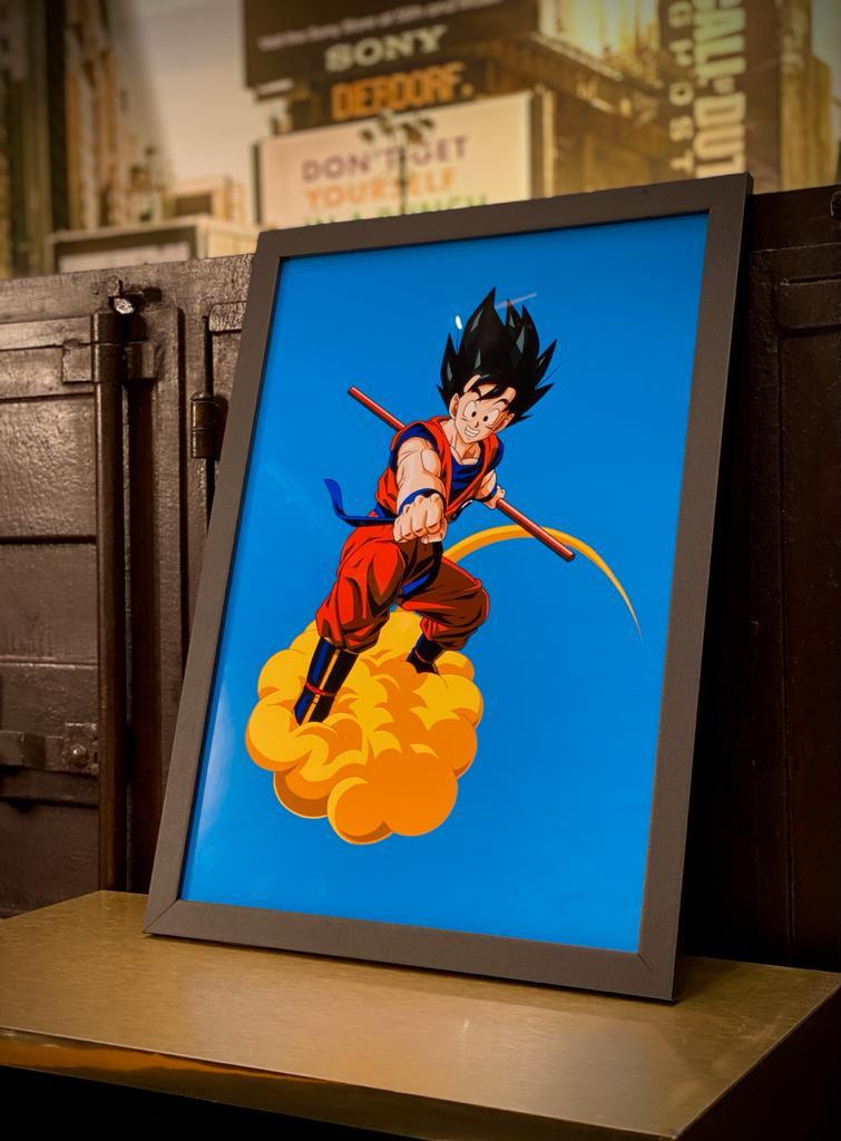 Quadro Com Moldura: Goku Na Nuvem Voadora ( Dragon Ball ) - 46x33
