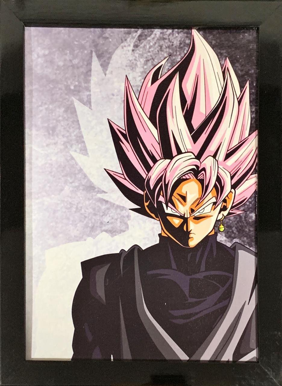 Quadro com Moldura Goku Super Saiyajin Rosé: Dragon Ball Z