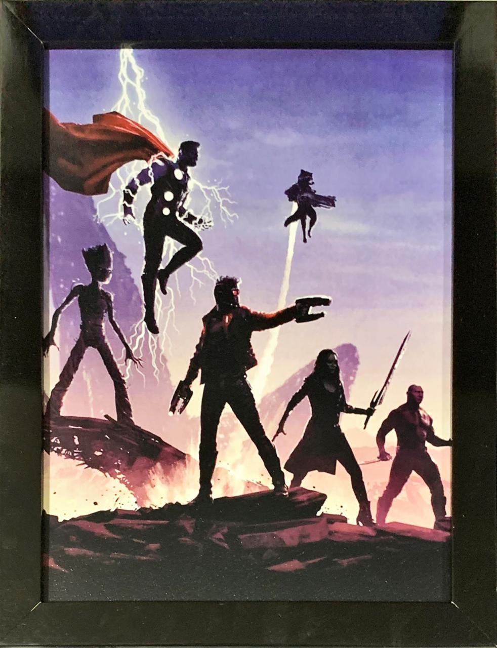 Quadro com Moldura Guardiões da Galáxia e Thor (Guerra Infinita - Infinity War)