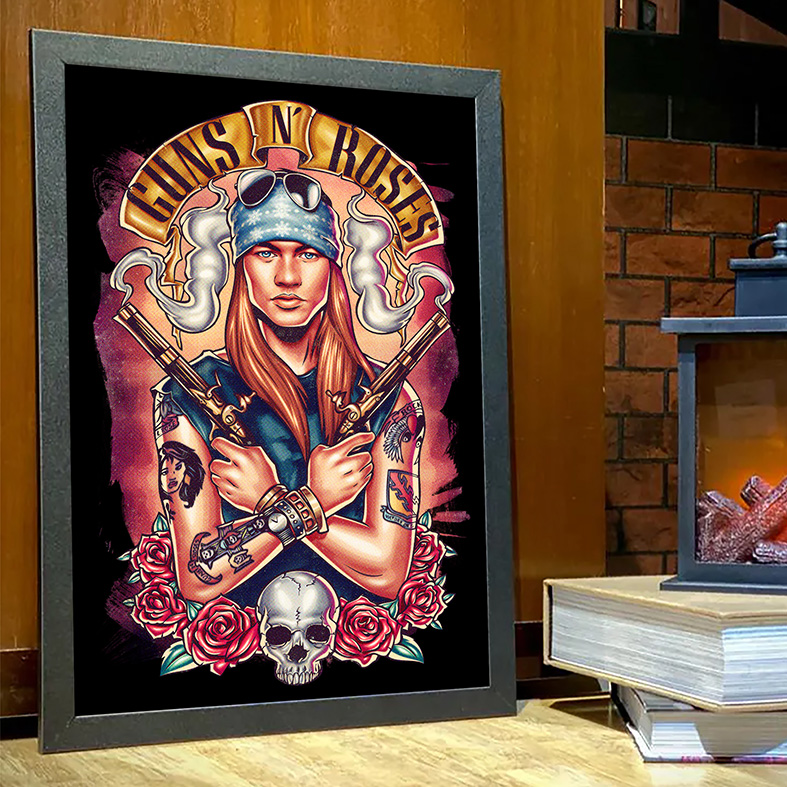 Quadro Com Moldura Hard Rock Legends Axl Rose Guns N' Roses Caveira Rosas Rock And Roll - 33x46 - EV