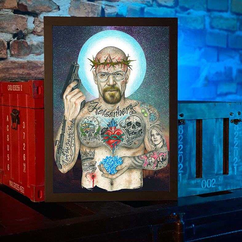 Quadro com Moldura Heisenberg Breaking Bad Sr Walter White Tattoo Cristal Cookin - 46x33 - EV