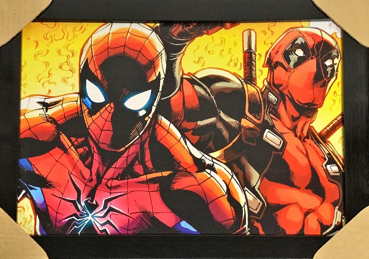 Quadro com Moldura Homem-Aranha e Deadpool: Marvel