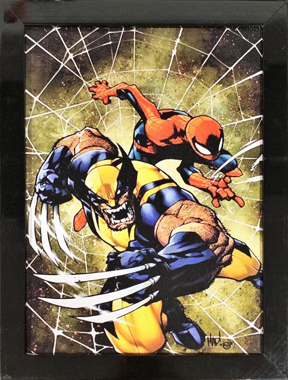 Quadro com Moldura Homem-Aranha & Wolverine 24x29: Marvel