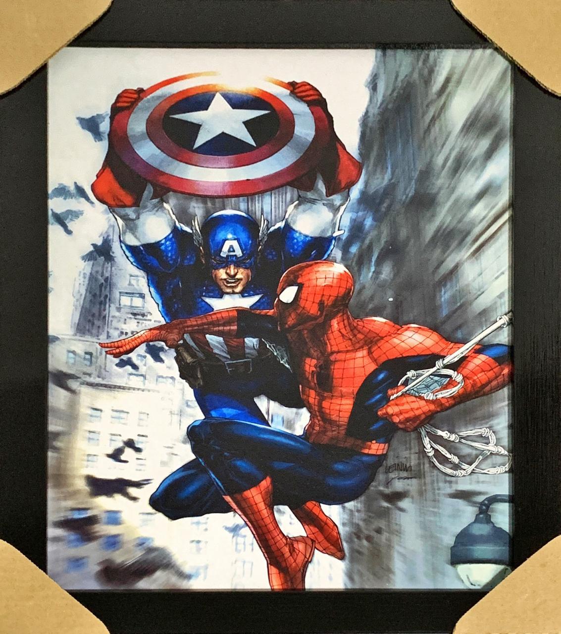 Quadro com Moldura Homem-Aranha Vs Capitão América: Marvel