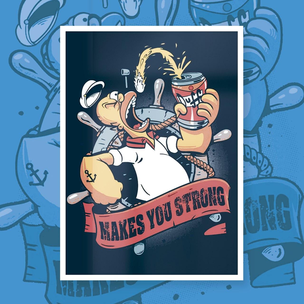 """Quadro Com Moldura Homer (Popeye) """"Makes You Strong"""": Os Simpsons - 46x33"""
