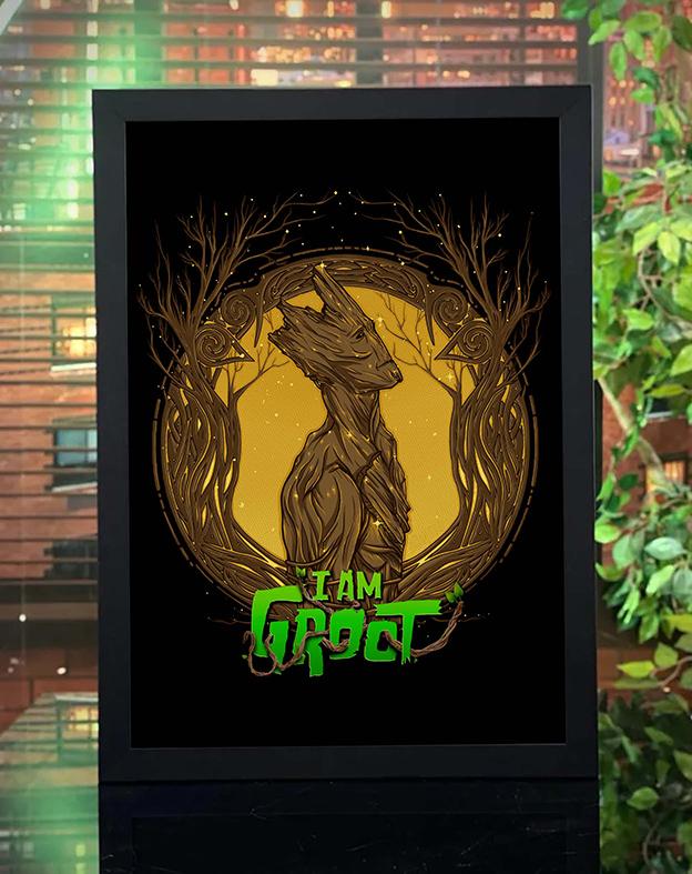 Quadro com Moldura I Am Groot Guardiões Da Galáxia Estrelas Marvel - 46x33 - EV