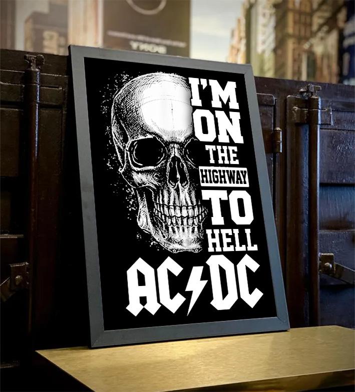 Quadro Com Moldura I'm On The Highway To Hell Rock And Roll: ACDC - 46x33 - EV