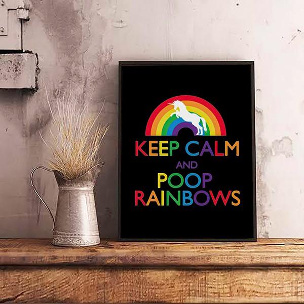 Quadro Com Moldura Keep Calm and Poop Rainbows - EV